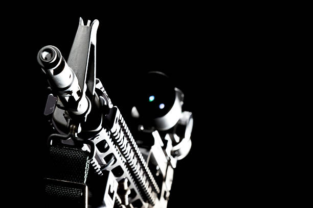AR-15 Assault Weapon An American AR-15 assault rifle in a studio environment ar 15 stock pictures, royalty-free photos & images