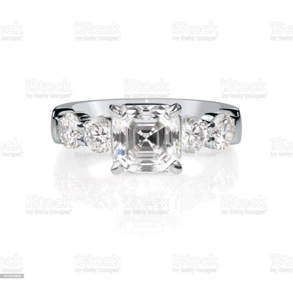 Asscher Cut Diamond Wedding bridal engagement ring stock photo