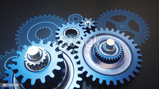 istock Assembled gears machinery with blueprint drawing close up 991181546