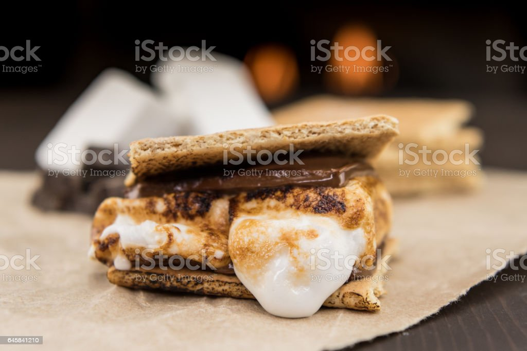 Assembled Smore on Brown Paper stock photo