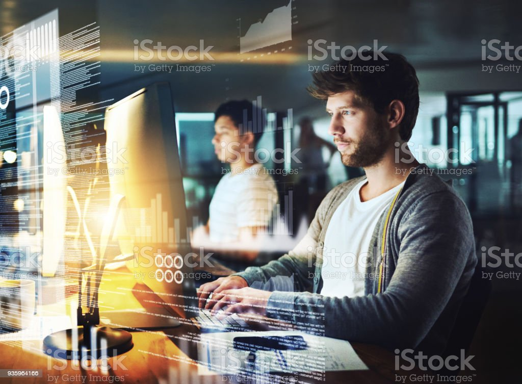 Assembling a new code stock photo