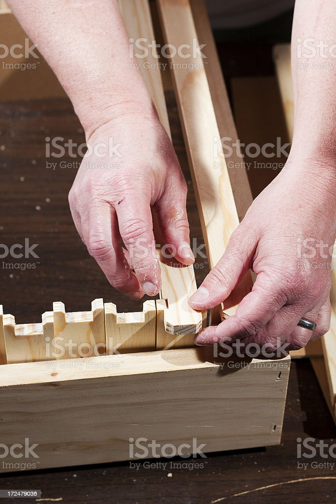Assembling Hive Frames - Top Bars royalty-free stock photo