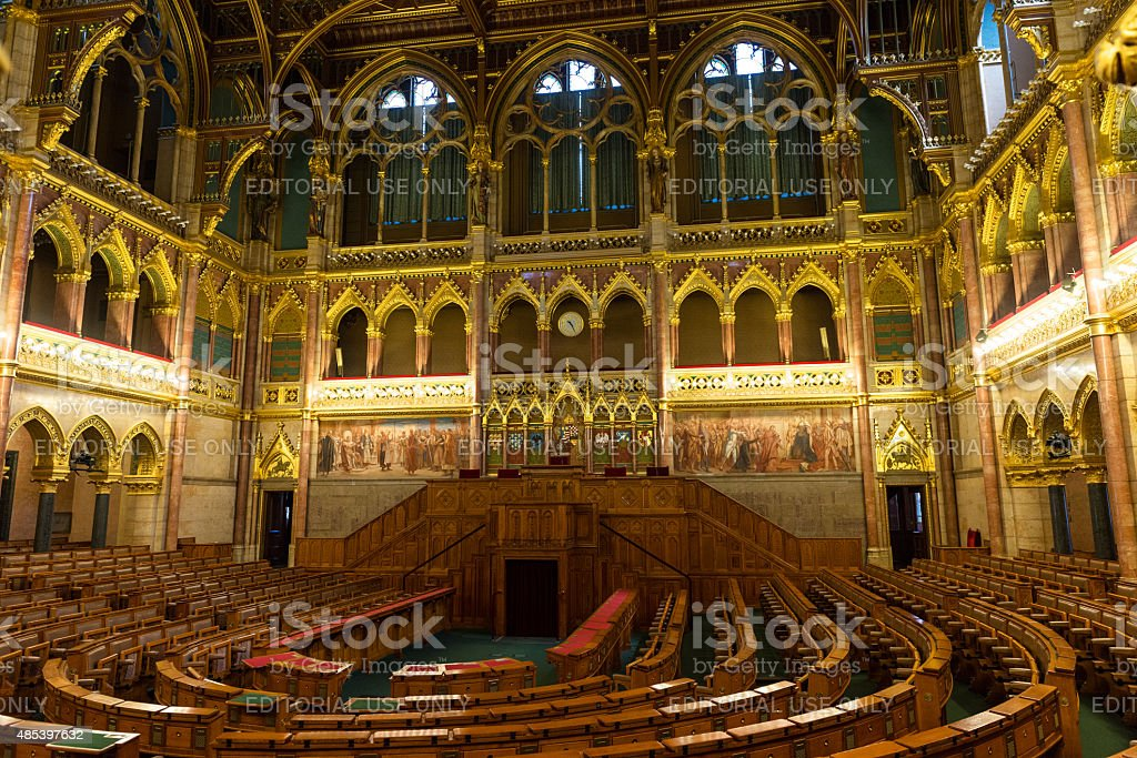Assembly Chamber of the Hungarian Parliament in Budapest stock photo