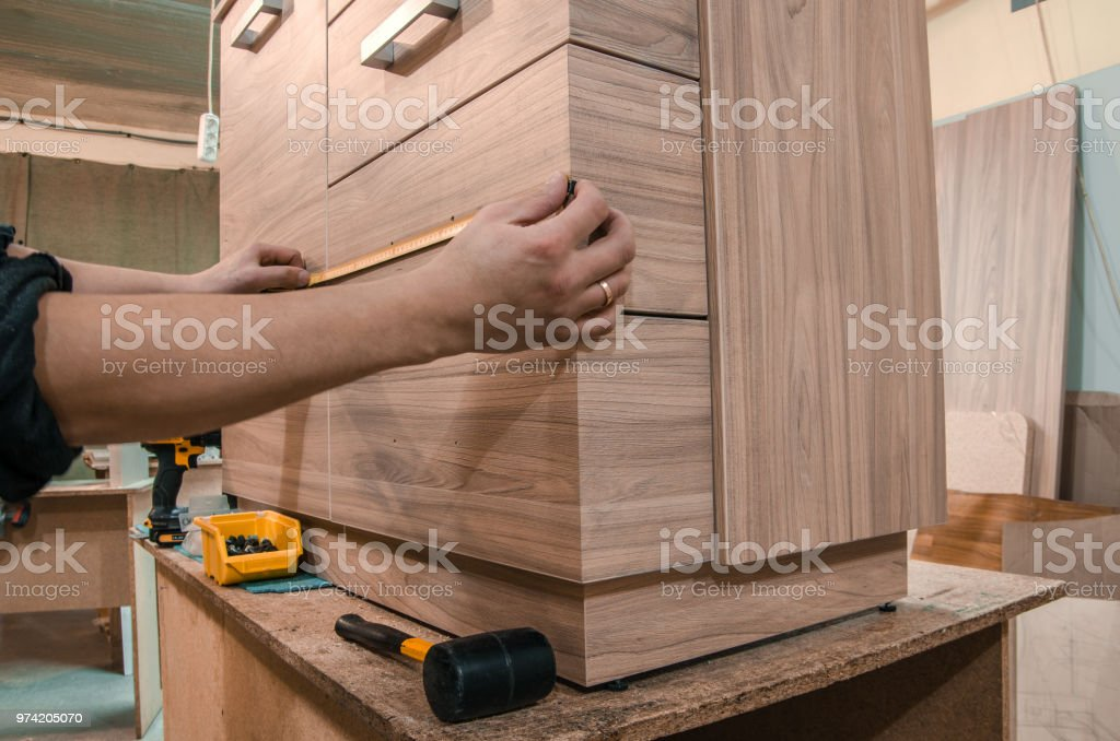 assembly of furniture stock photo