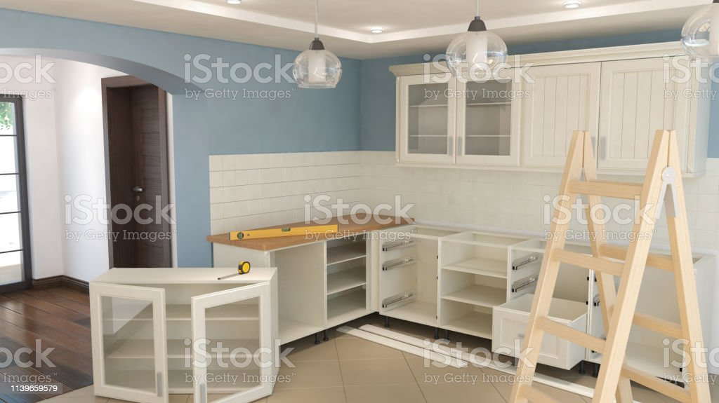 Montaje De Muebles De Cocina Ilustración 3d Foto de stock y ...