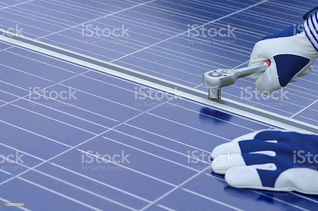 Assembly of solar panels stock photo