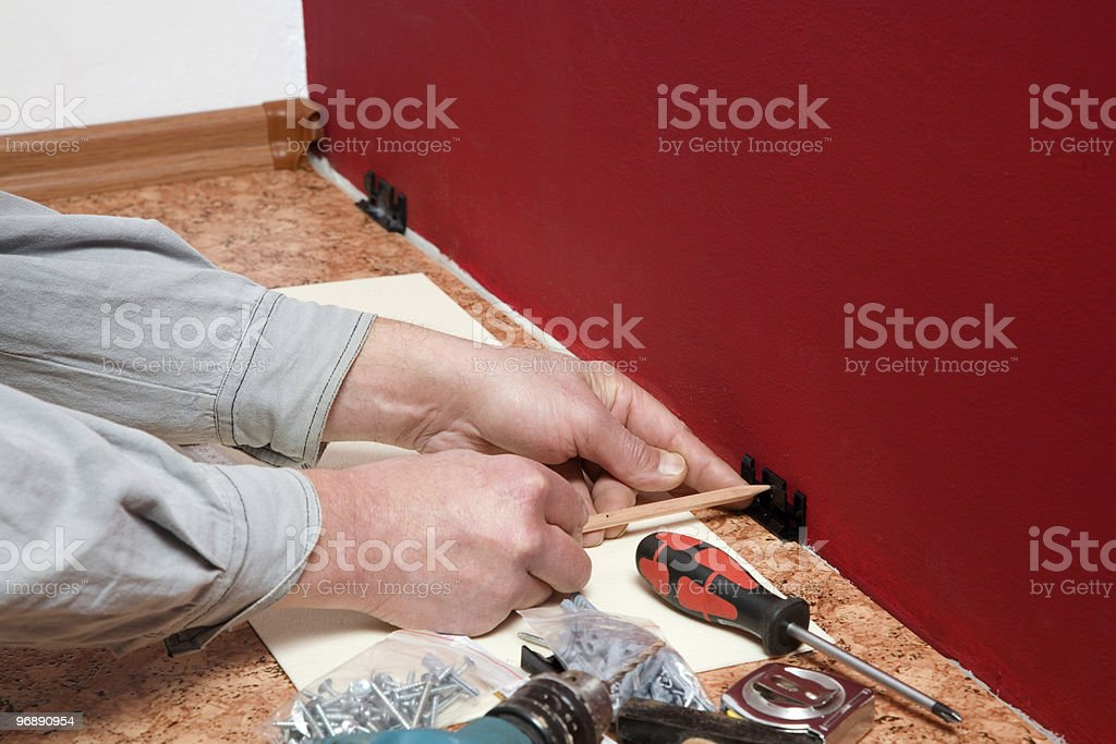 Assembly of wall clips. stock photo