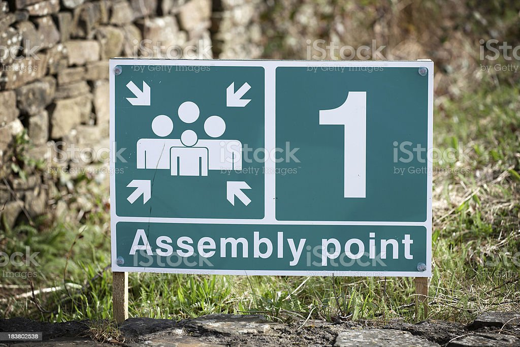 Assembly point notice stock photo