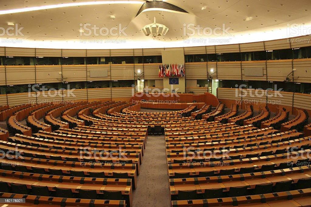 Assembly Room in European Parliament stock photo