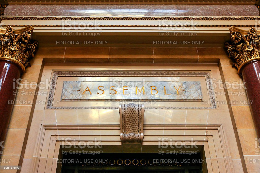 Assembly room sign inside the Wisconsin State Capitol building stock photo