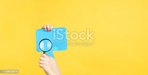 1130633985 istock photo assess customer opinion speech bubble magnifier 1130633970