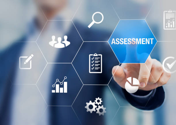 assessment and analysis by professional auditing consultant concept, person touching screen with icons of risk evaluation, business analytics, quality compliance, process inspection, financial audit - examinar imagens e fotografias de stock