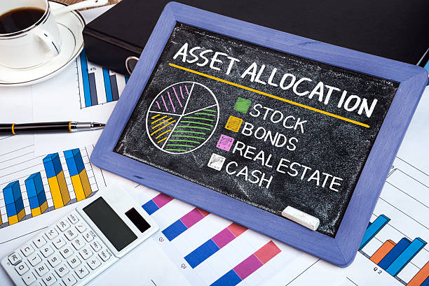 asset allocation concept graph on blackboard stock photo