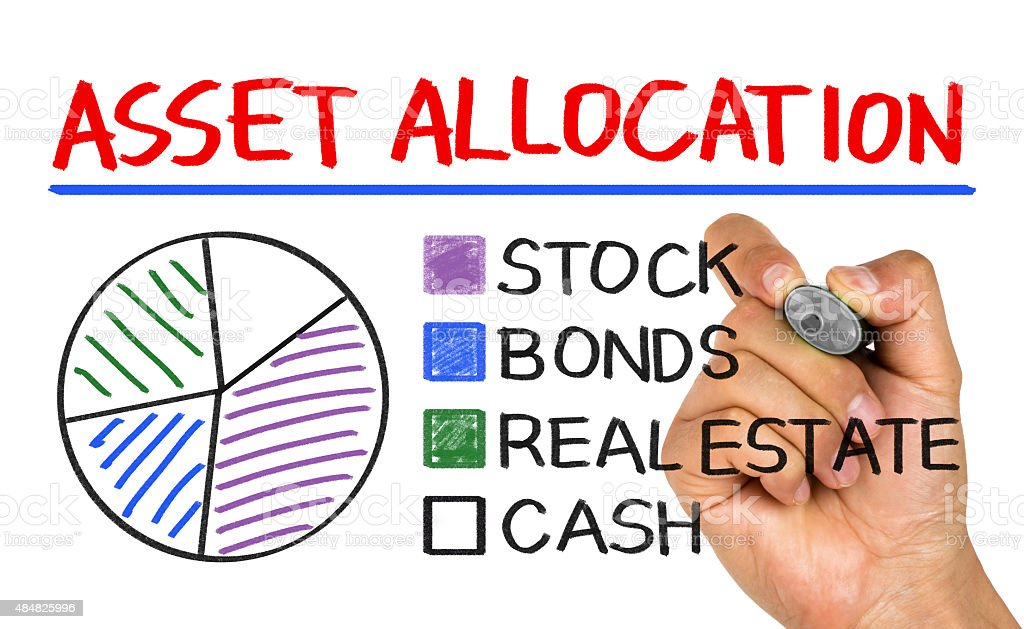 asset allocation concept graph on whiteboard stock photo