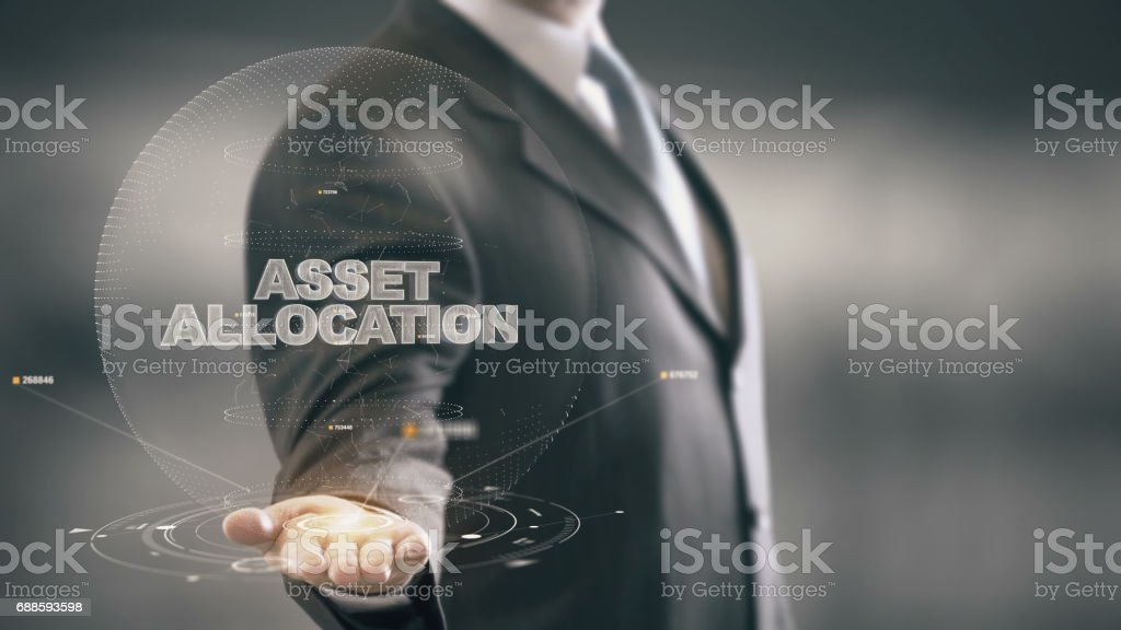 Asset Allocation with hologram businessman concept stock photo
