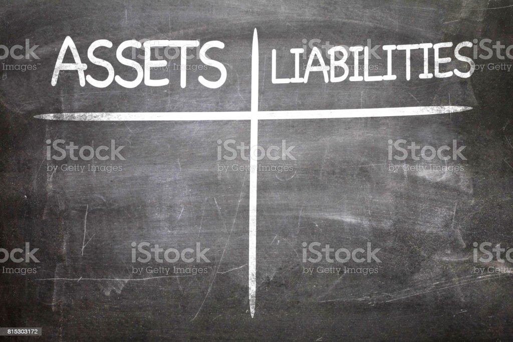 Assets x Liabilities stock photo