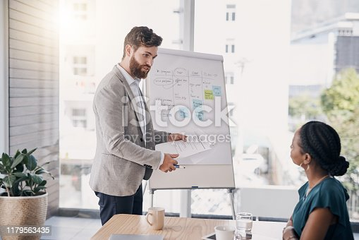 Shot of a young businessman going through paperwork during a presentation in an office
