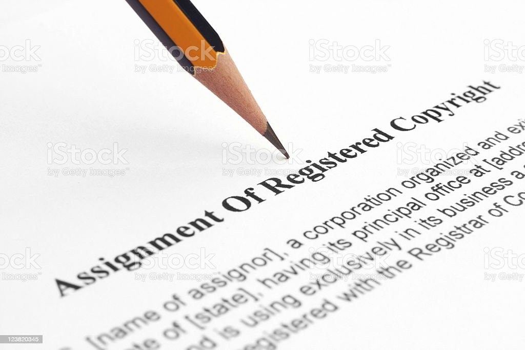 Assignment of registered copyright stock photo