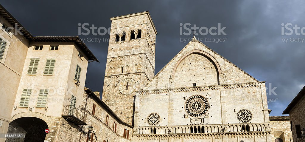 Assisi Cathedral San Rufino, Umbria Italy royalty-free stock photo