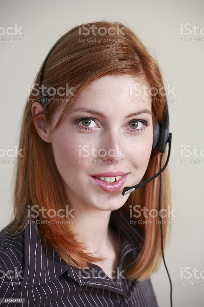 Assistance by phone royalty-free stock photo