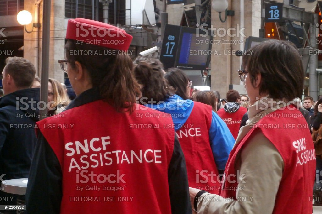 SNCF Assistance in Gare du Nord stock photo