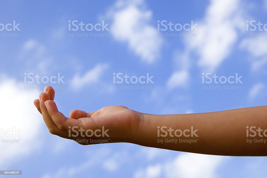 Assistance requesting hand stock photo