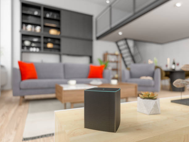 Assistant in a residential building Assistant in a residential building smart speaker stock pictures, royalty-free photos & images