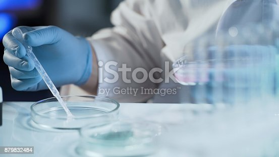 istock Assistant of reproductive medicine clinic fertilizing egg outside female body 879832484
