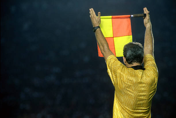 Assistant referee informing a substitution The game is interrupted for a substituion in a soccer game referee stock pictures, royalty-free photos & images