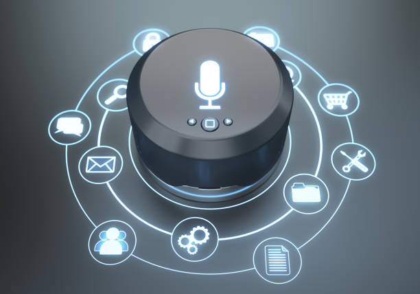 Assistant smart speaker Futuristic smart speaker home assistant with icons verbaasd stock pictures, royalty-free photos & images