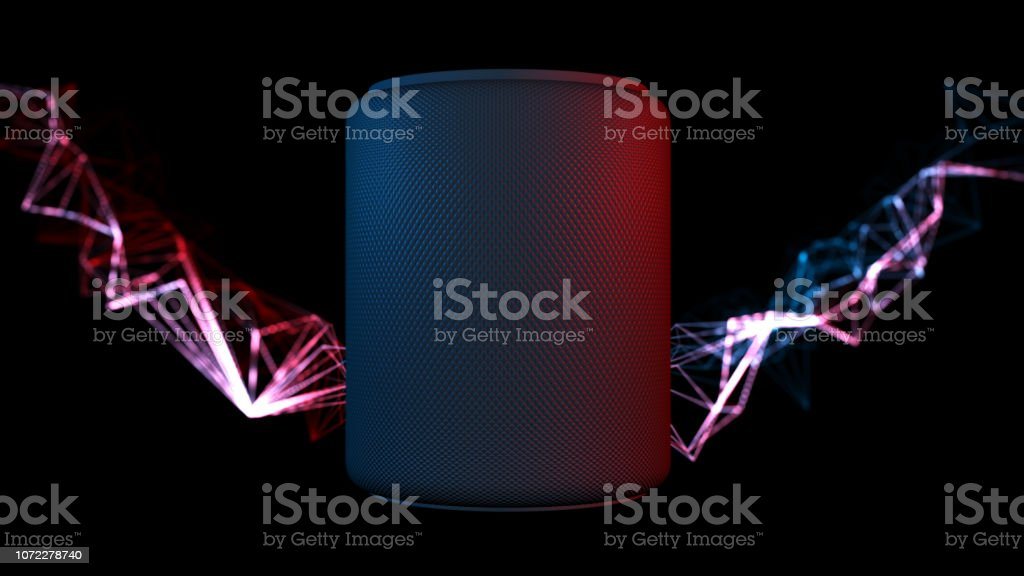Assistant smart speaker with artificial intelligence concept stock photo