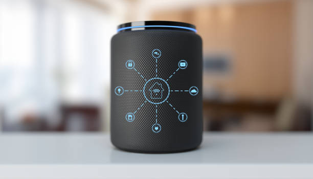Assistant smart speaker with artificial intelligence concept media concept smart speaker home automation stock pictures, royalty-free photos & images