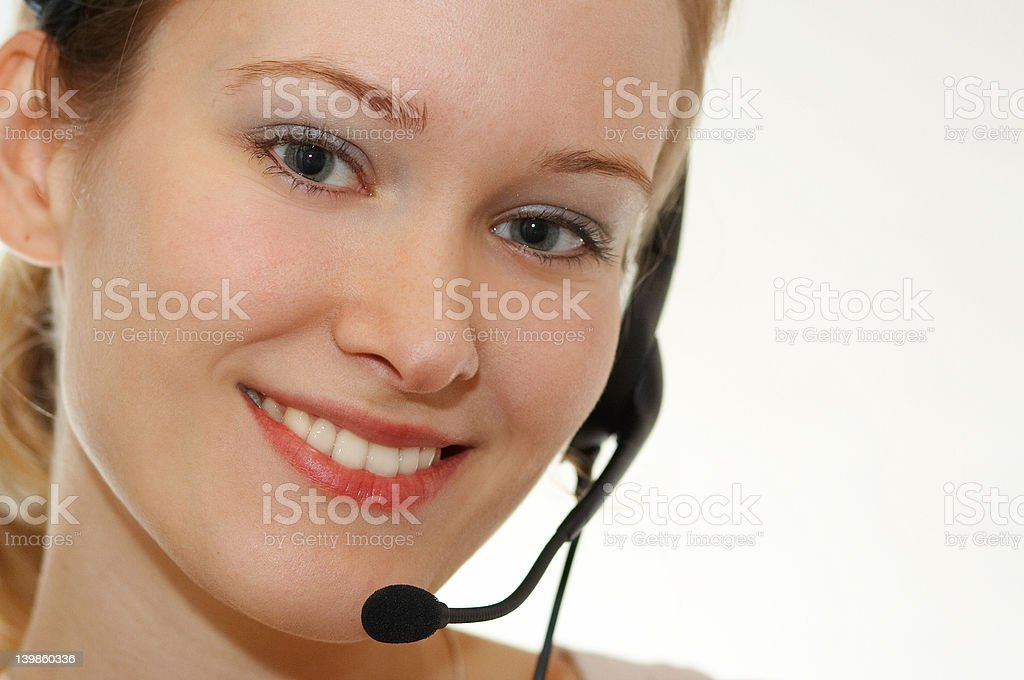 Assistant talking online royalty-free stock photo
