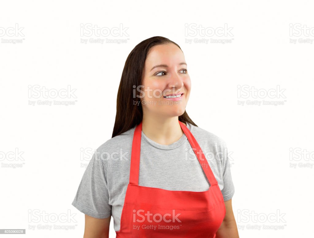 assistant woman looking askance stock photo