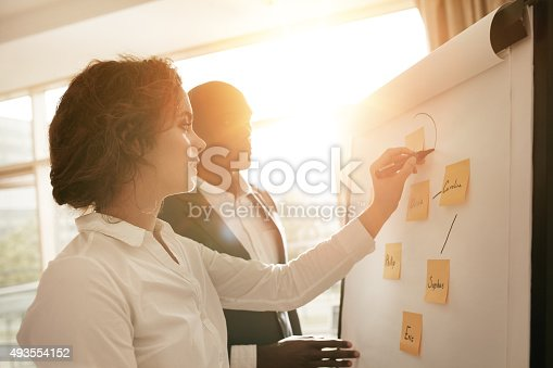 istock Associates working together drawing on flipchart 493554152