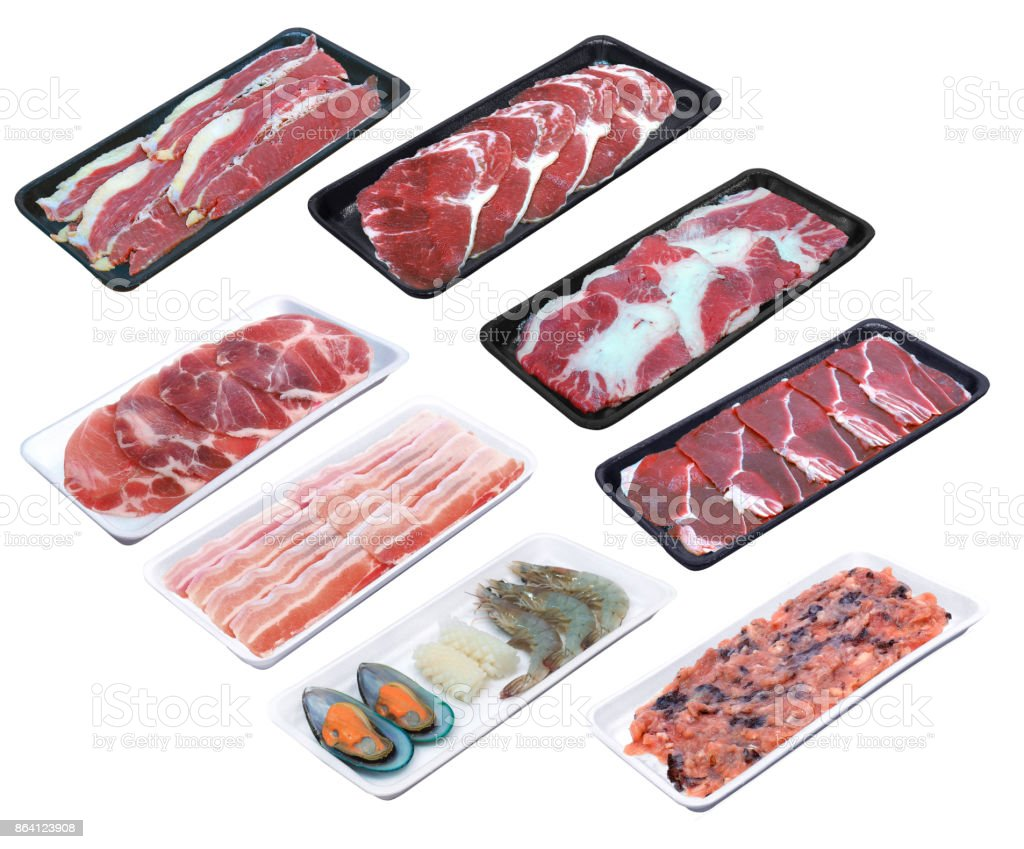 assort meat, beef, pork, prawn, sqiud, mussels, sirloin, shrimp  served  on the dish plate tray for suki yaki shabu hotpot in isolated white background with clipping path royalty-free stock photo