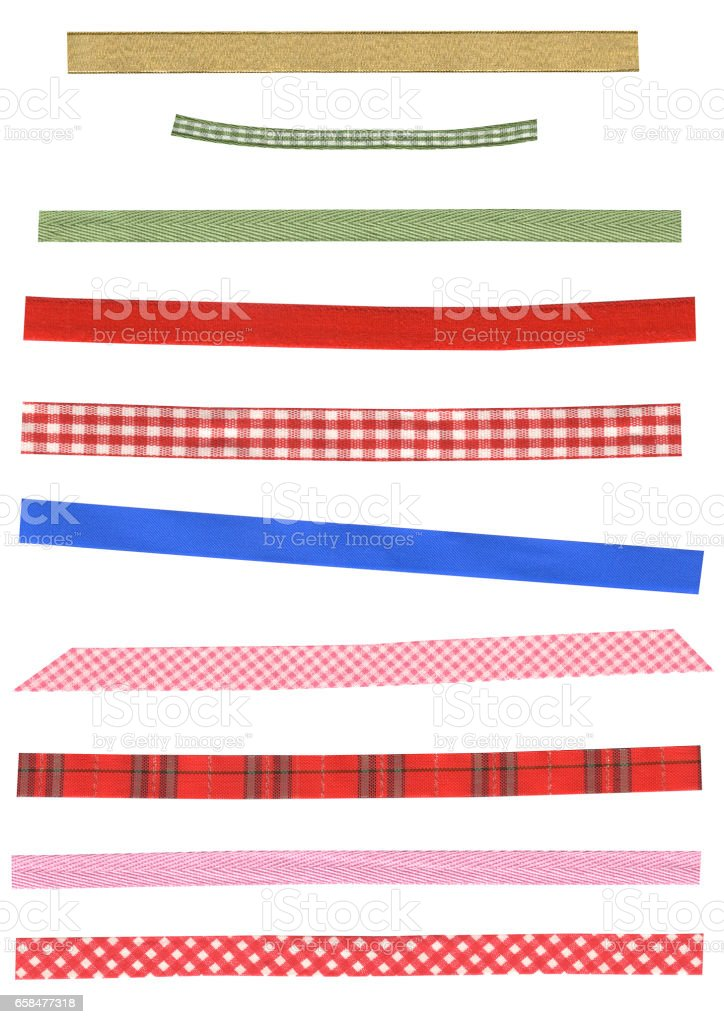 Assort of colorful beautiful ribbons. Many narrow strip of fabric in different patterns stock photo
