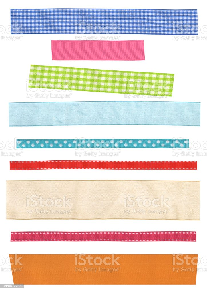 Assort of colorful beautiful ribbons. Many narrow strip of fabric in different patterns royalty-free stock photo