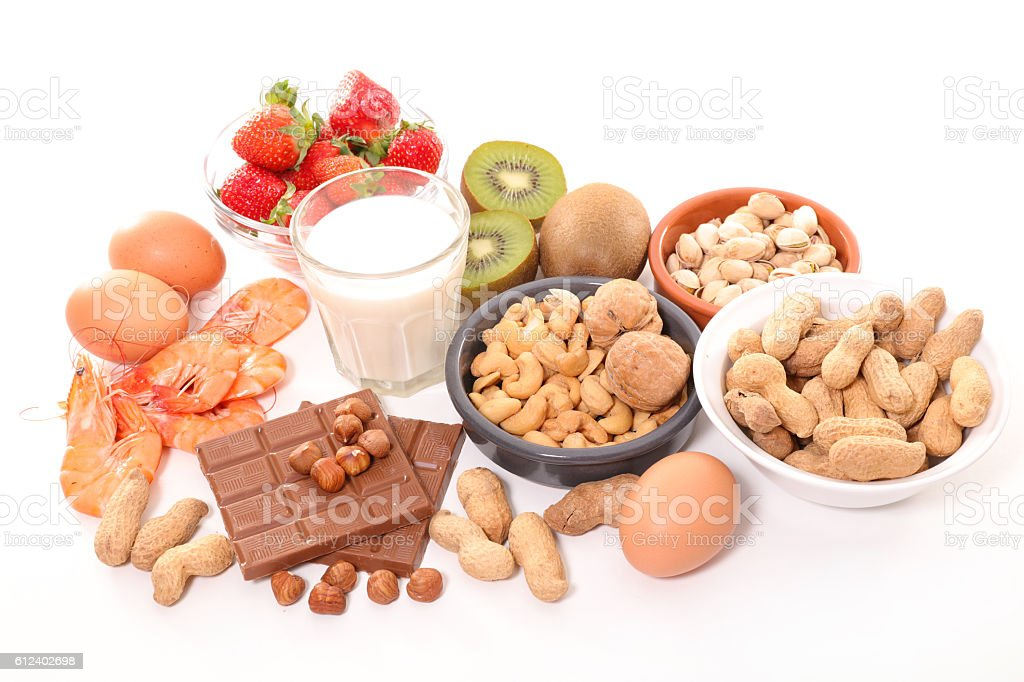 assorted allergy food stock photo