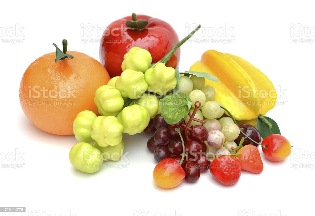 Assorted artificial fruits stock photo