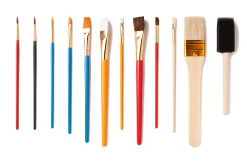 Assorted Artist Paintbrushes Isolated on White Background