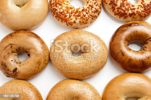 Assorted Bagels on White Background from above