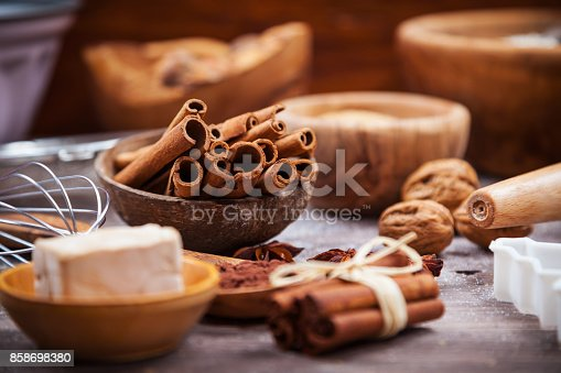 istock Assorted baking ingredients and kitchen utensil for cake or cookies 858698380