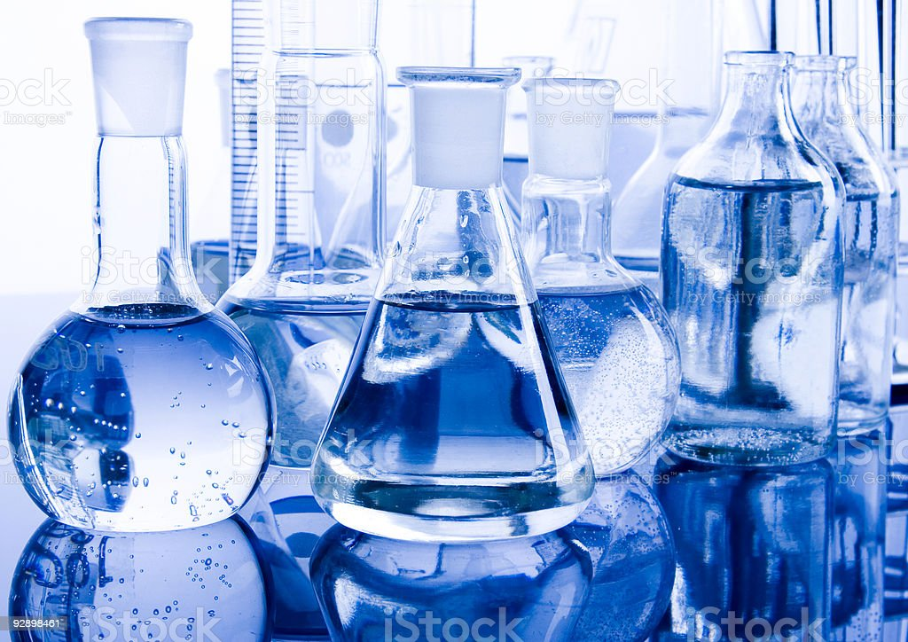 Assorted beakers required for laboratory experiments stock photo