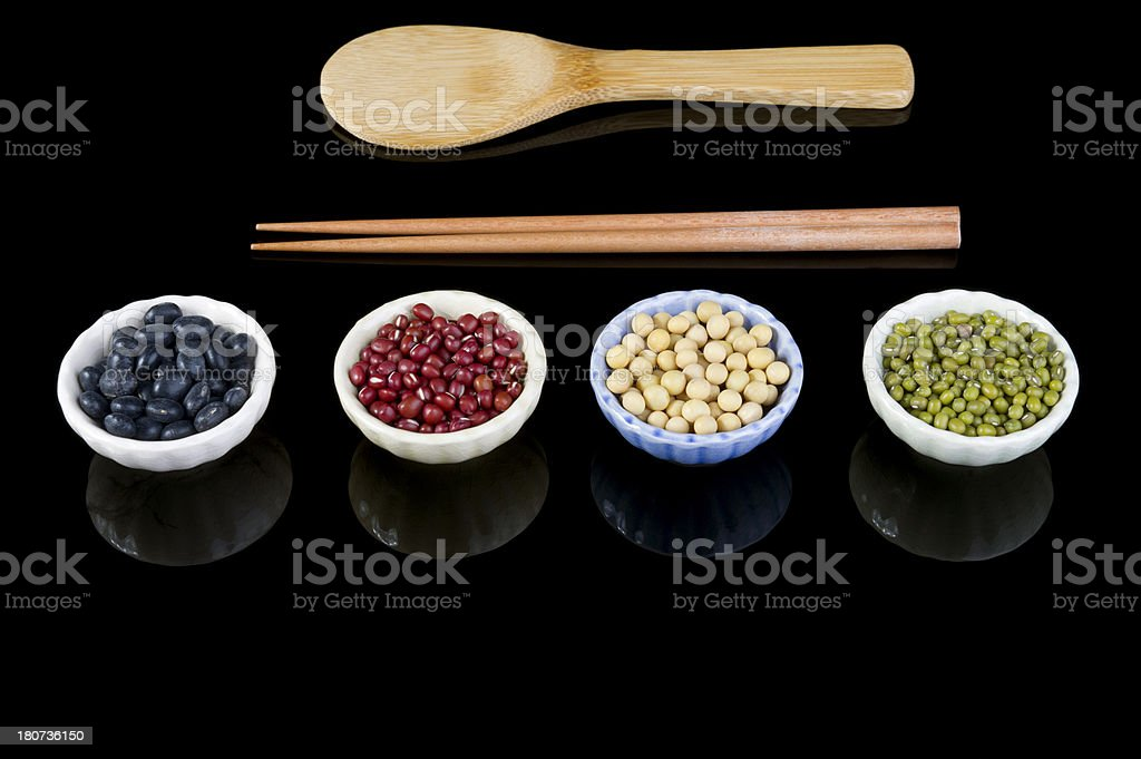 Assorted Beans in Bowls with Chopsticks royalty-free stock photo