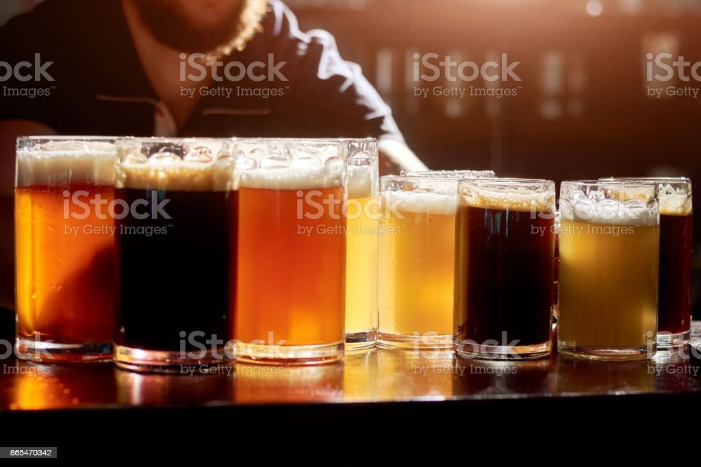 Assorted beers for tasting. stock photo