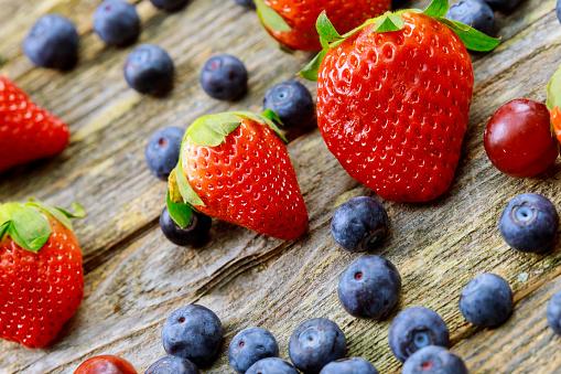 Assorted Berries Blueberries Blackberries Strawberries Raspberries Organic Healthy Assorted Juicy Fruit Stock Photo - Download Image Now