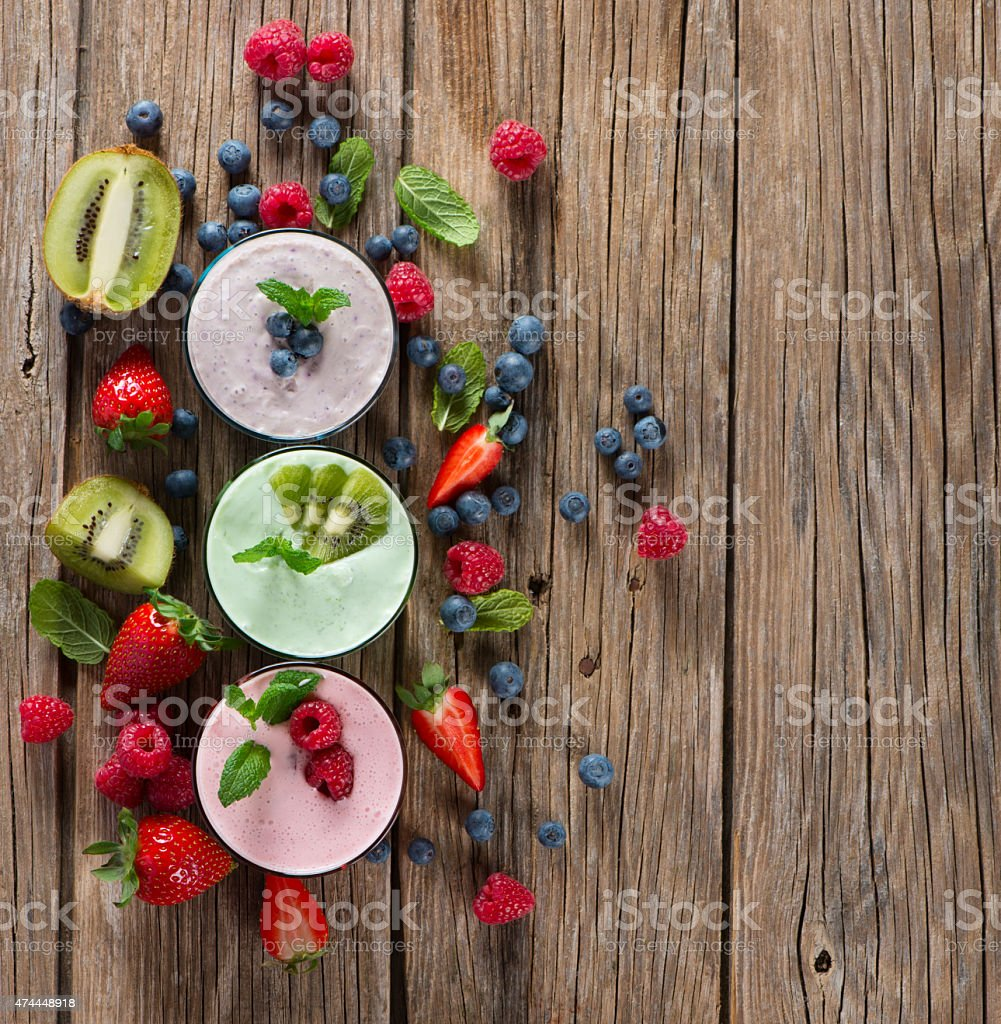 Assorted berry smoothie, top view stock photo