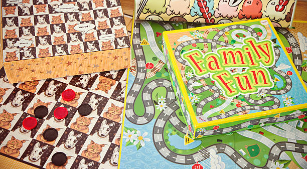 Assorted Board Games On A Table stock photo