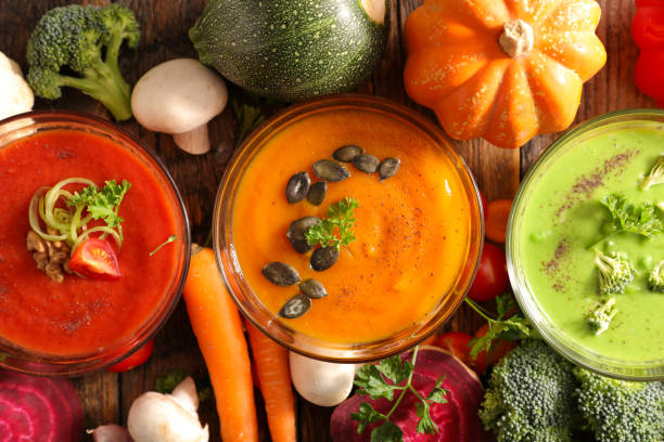 assorted bowl of soup stock photo